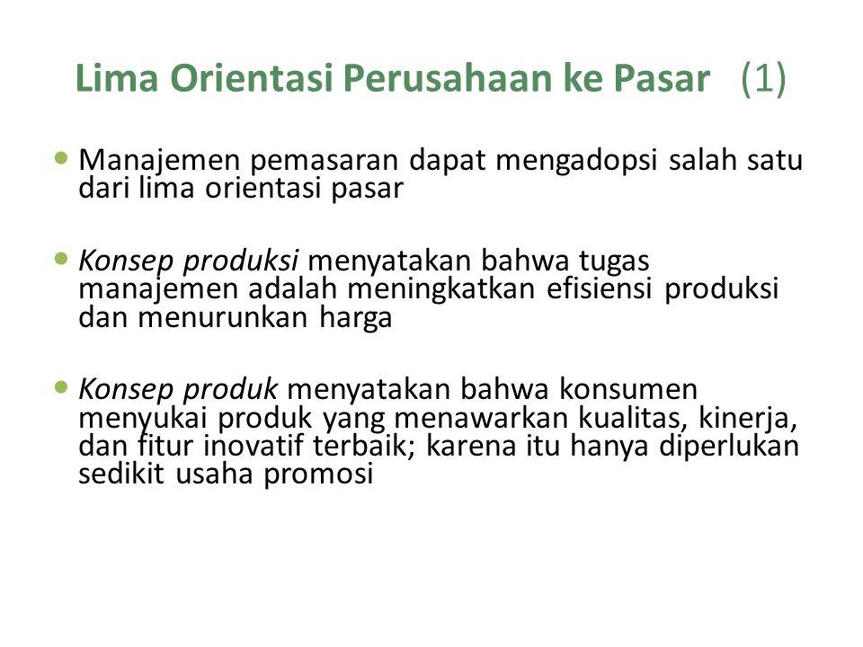 Lima Orientasi Perusahaan ke Pasar (1) Manajemen pemasaran dapat mengadopsi salah satu dari lima orientasi pasar Konsep produksi menyatakan bahwa tuga