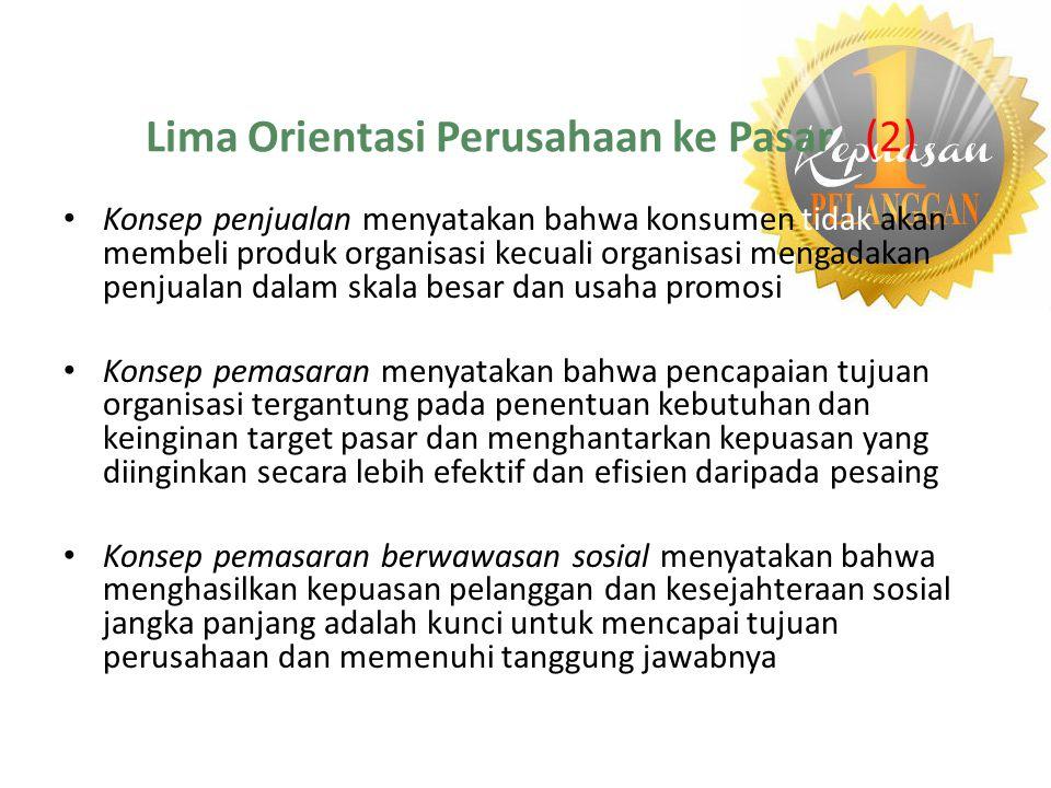 Lima Orientasi Perusahaan ke Pasar (2) Konsep penjualan menyatakan bahwa konsumen tidak akan membeli produk organisasi kecuali organisasi mengadakan p