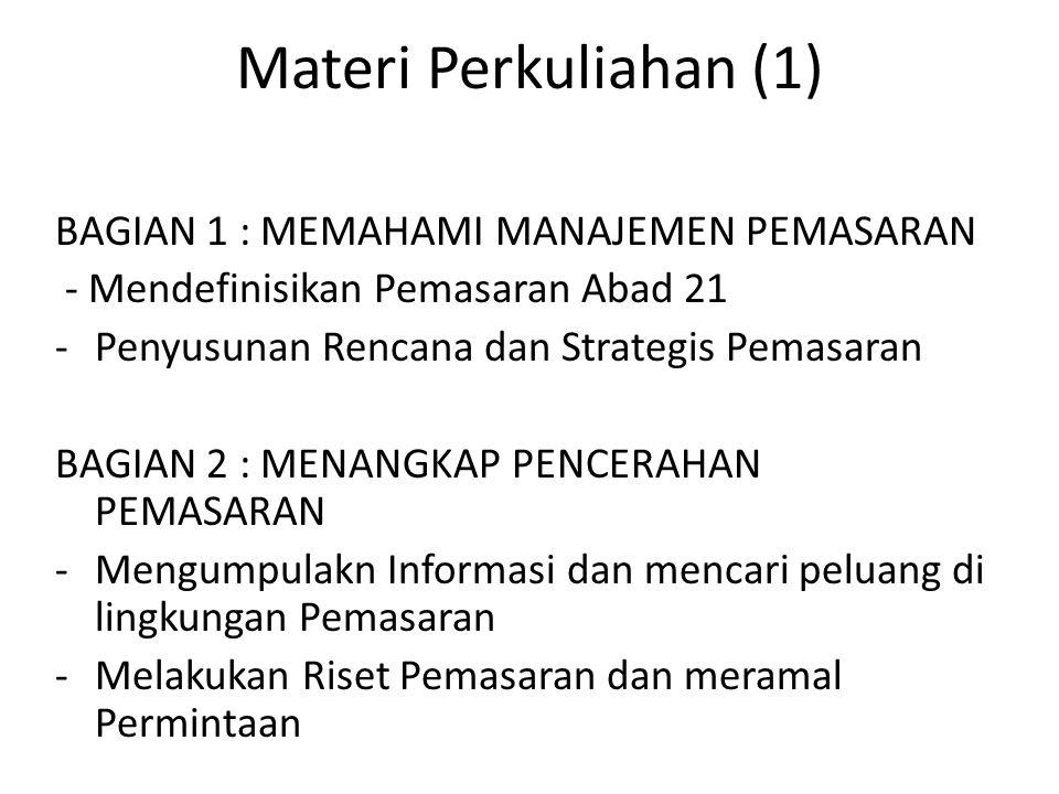 Materi Perkuliahan (1) BAGIAN 1 : MEMAHAMI MANAJEMEN PEMASARAN - Mendefinisikan Pemasaran Abad 21 -Penyusunan Rencana dan Strategis Pemasaran BAGIAN 2