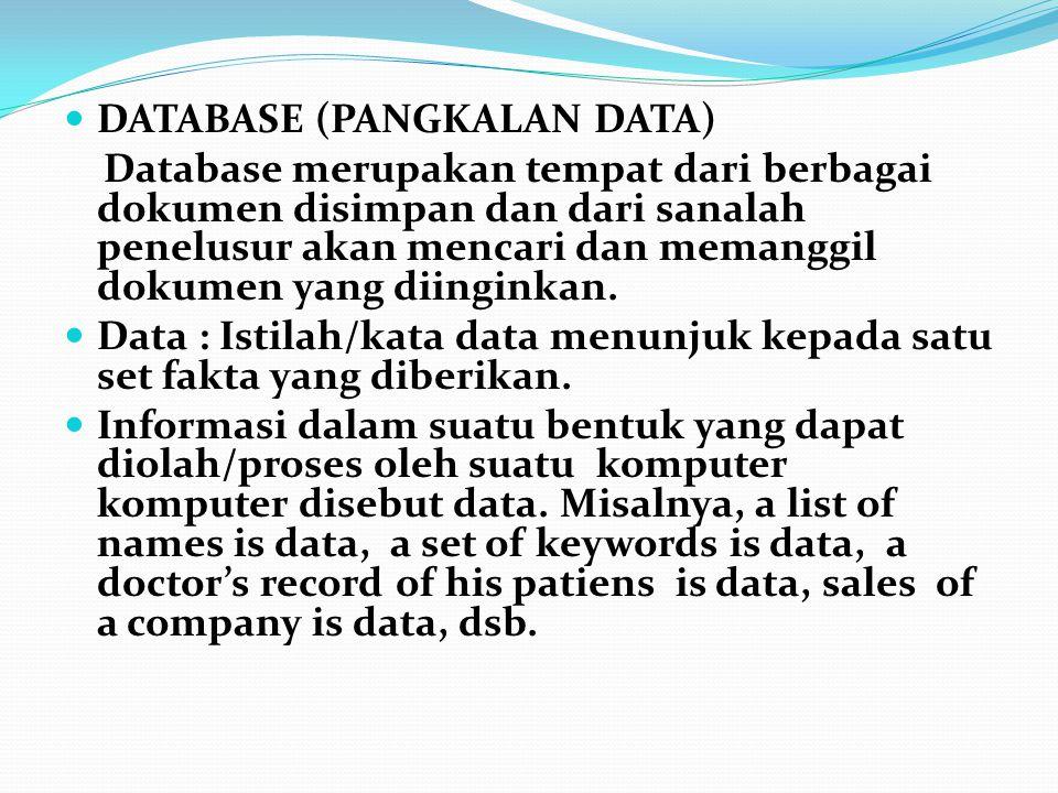 DATABASE (PANGKALAN DATA) Database merupakan tempat dari berbagai dokumen disimpan dan dari sanalah penelusur akan mencari dan memanggil dokumen yang diinginkan.