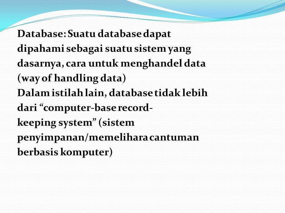 Secara umum tujuan database adalah mencatat dan memelihara informasi (to record and maintain information).