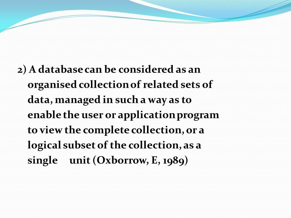 Dari kedua defenisi di atas, ditarik kesimpulan bahwa database adalah: Pengorganisasian suatu koleksi yang terdiri dari sekumpulan data yang saling berhubungan, yang dapat diakses oleh lebih dari satu pemakai, yang dapat ditelusur untuk mencari fakta atau informasi yang dibutuhkan.