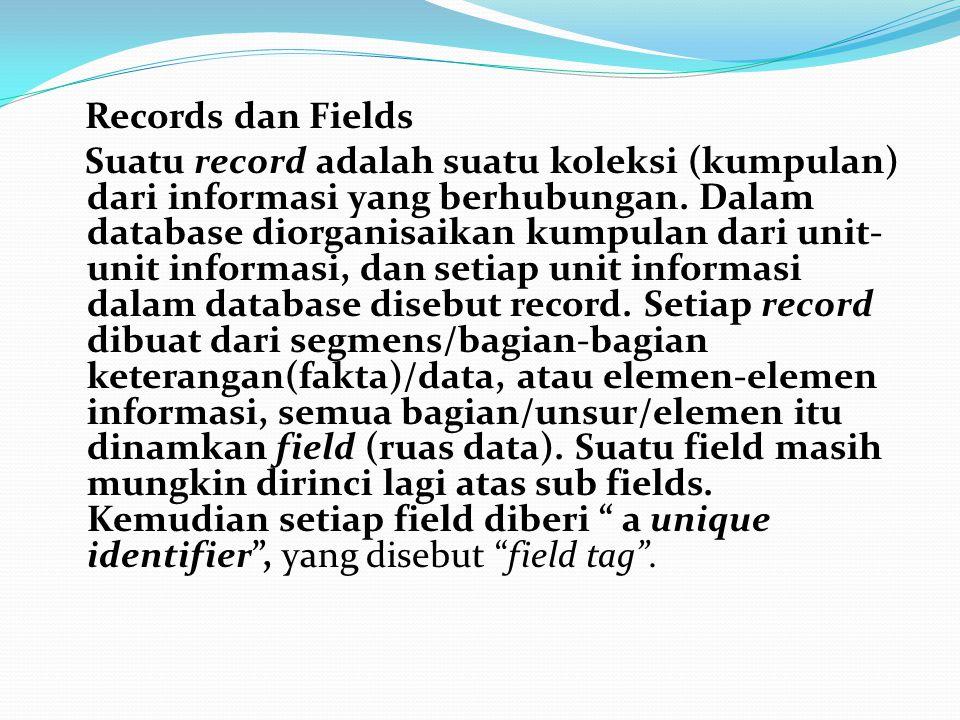 Records dan Fields Suatu record adalah suatu koleksi (kumpulan) dari informasi yang berhubungan.