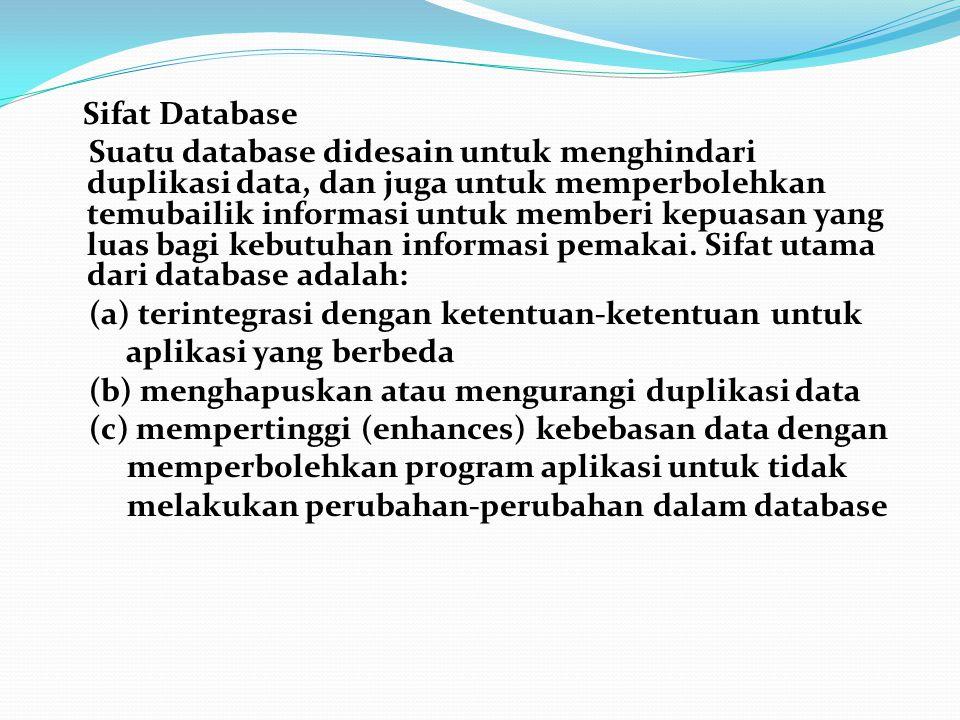 Sifat Database Suatu database didesain untuk menghindari duplikasi data, dan juga untuk memperbolehkan temubailik informasi untuk memberi kepuasan yang luas bagi kebutuhan informasi pemakai.
