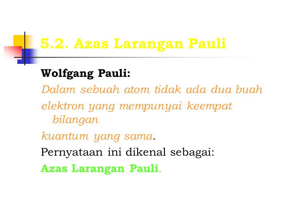 5.2. Azas Larangan Pauli Wolfgang Pauli: Dalam sebuah atom tidak ada dua buah elektron yang mempunyai keempat bilangan kuantum yang sama. Pernyataan i