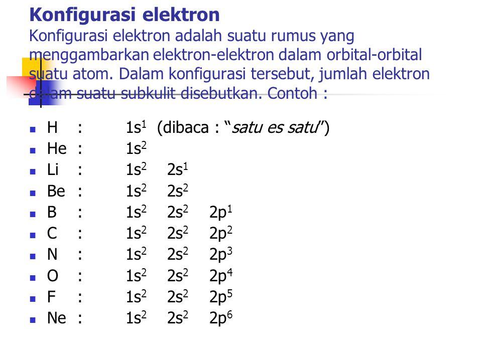 Konfigurasi elektron Konfigurasi elektron adalah suatu rumus yang menggambarkan elektron-elektron dalam orbital-orbital suatu atom.