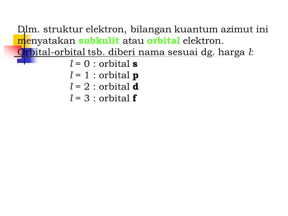 Dlm. struktur elektron, bilangan kuantum azimut ini menyatakan subkulit atau orbital elektron. Orbital-orbital tsb. diberi nama sesuai dg. harga l : l