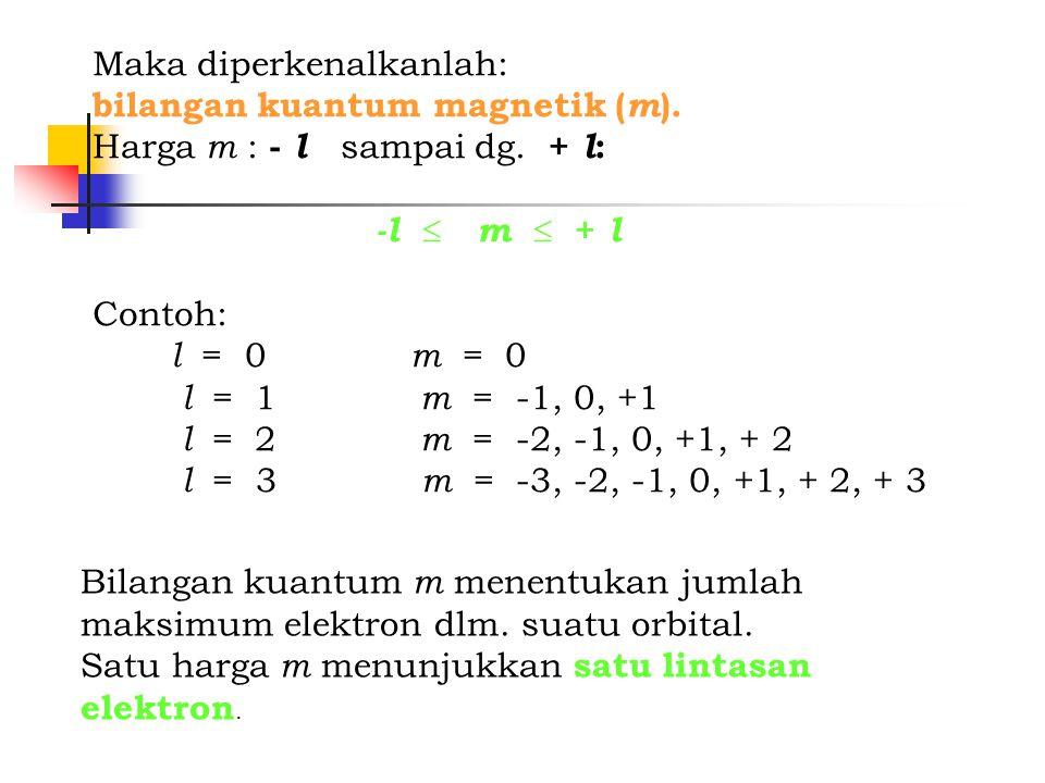 Maka diperkenalkanlah: bilangan kuantum magnetik ( m ). Harga m : - l sampai dg. + l : -l  m  + l Contoh: l = 0 m = 0 l = 1 m = -1, 0, +1 l = 2 m =