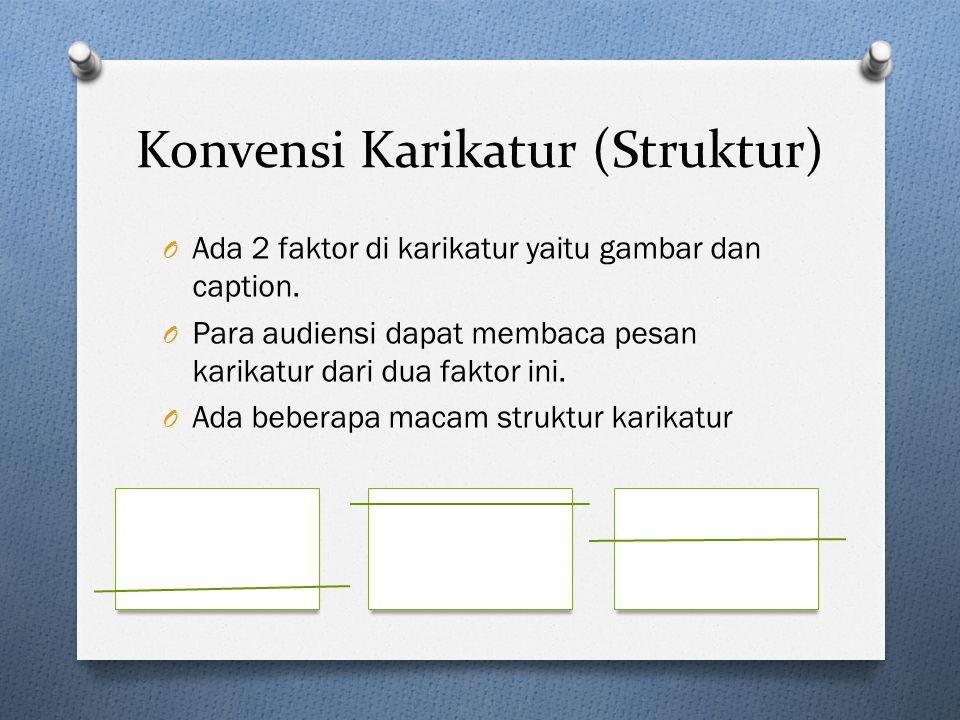 Konvensi Karikatur (Struktur) O Ada 2 faktor di karikatur yaitu gambar dan caption. O Para audiensi dapat membaca pesan karikatur dari dua faktor ini.