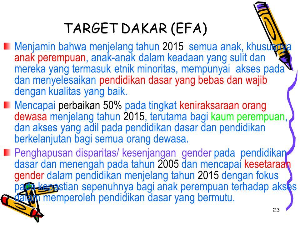 23 TARGET DAKAR (EFA) Menjamin bahwa menjelang tahun 2015 semua anak, khususnya anak perempuan, anak-anak dalam keadaan yang sulit dan mereka yang ter