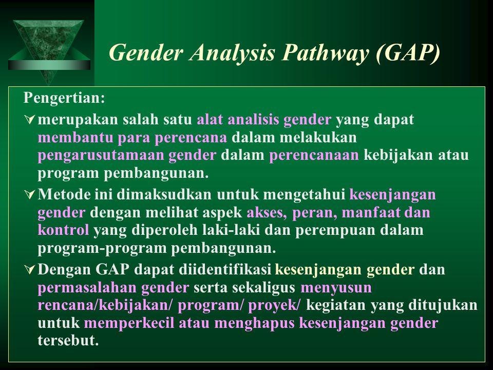 24 Gender Analysis Pathway (GAP) Pengertian:  merupakan salah satu alat analisis gender yang dapat membantu para perencana dalam melakukan pengarusut