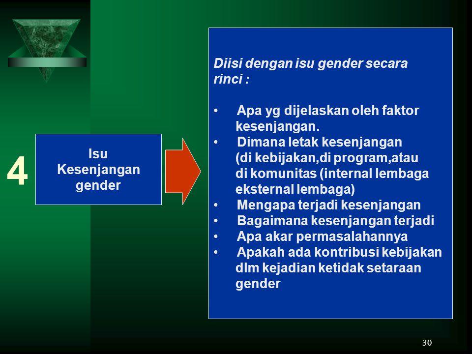 30 Isu Kesenjangan gender 4 Diisi dengan isu gender secara rinci : Apa yg dijelaskan oleh faktor kesenjangan. Dimana letak kesenjangan (di kebijakan,d