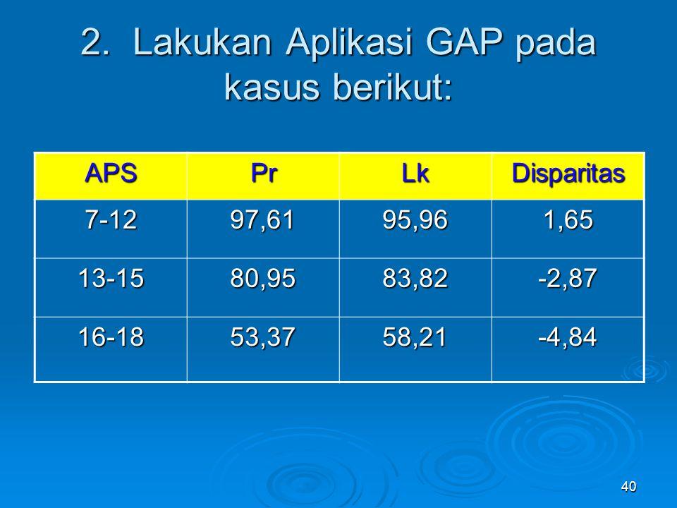 40 2. Lakukan Aplikasi GAP pada kasus berikut: APSPrLkDisparitas 7-1297,6195,961,65 13-1580,9583,82-2,87 16-1853,3758,21-4,84