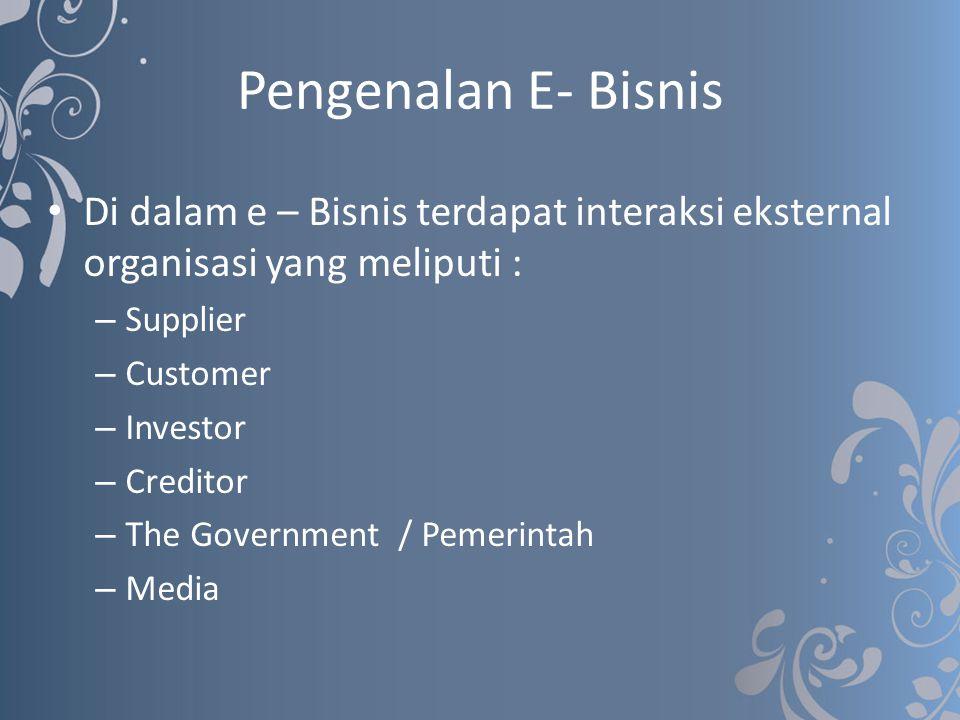 Pengenalan E- Bisnis Di dalam e – Bisnis terdapat interaksi eksternal organisasi yang meliputi : – Supplier – Customer – Investor – Creditor – The Gov