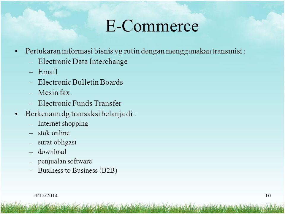 9/12/201410 E-Commerce Pertukaran informasi bisnis yg rutin dengan menggunakan transmisi : –Electronic Data Interchange –Email –Electronic Bulletin Bo