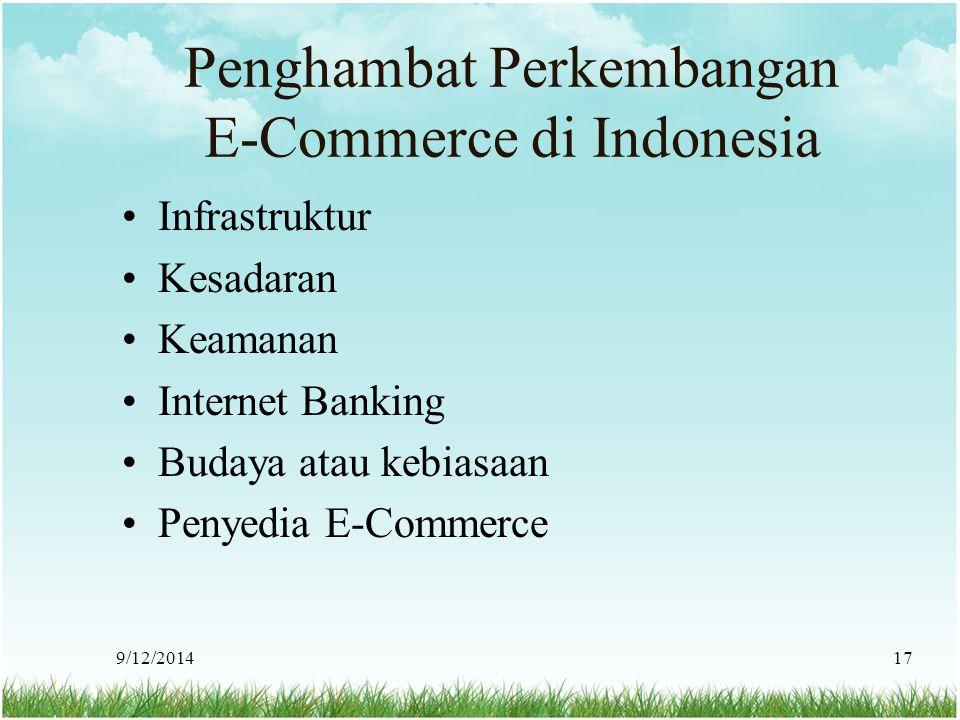 9/12/201417 Penghambat Perkembangan E-Commerce di Indonesia Infrastruktur Kesadaran Keamanan Internet Banking Budaya atau kebiasaan Penyedia E-Commerc