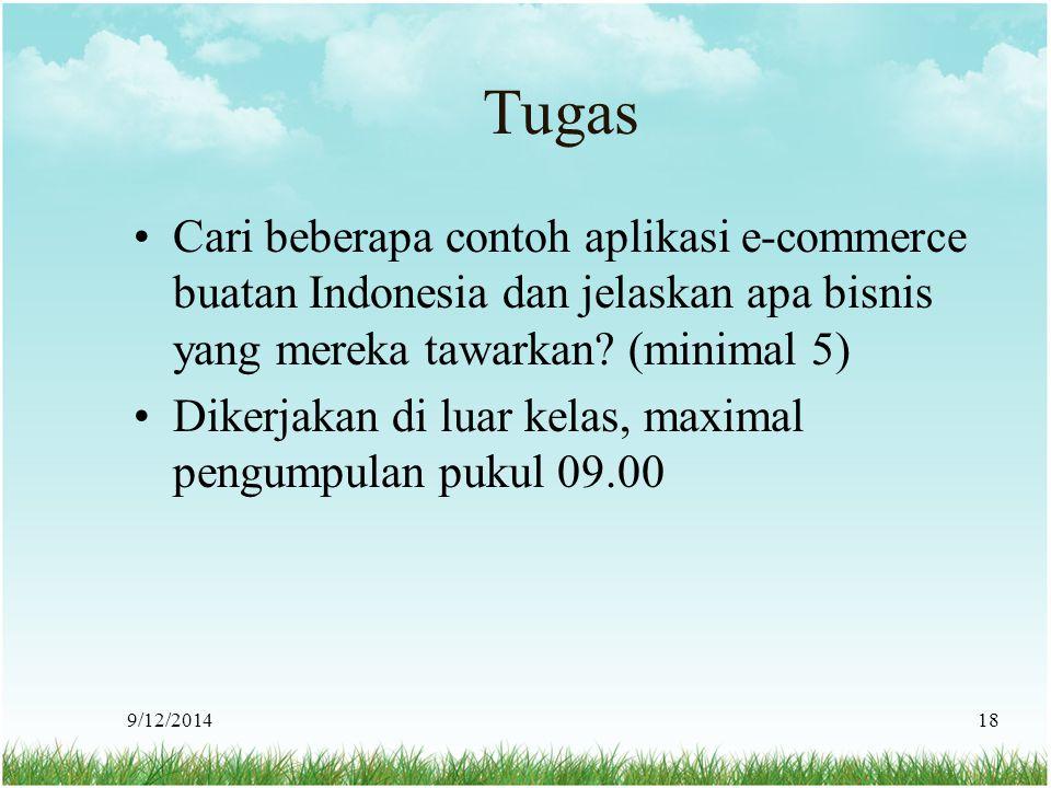 Tugas Cari beberapa contoh aplikasi e-commerce buatan Indonesia dan jelaskan apa bisnis yang mereka tawarkan? (minimal 5) Dikerjakan di luar kelas, ma