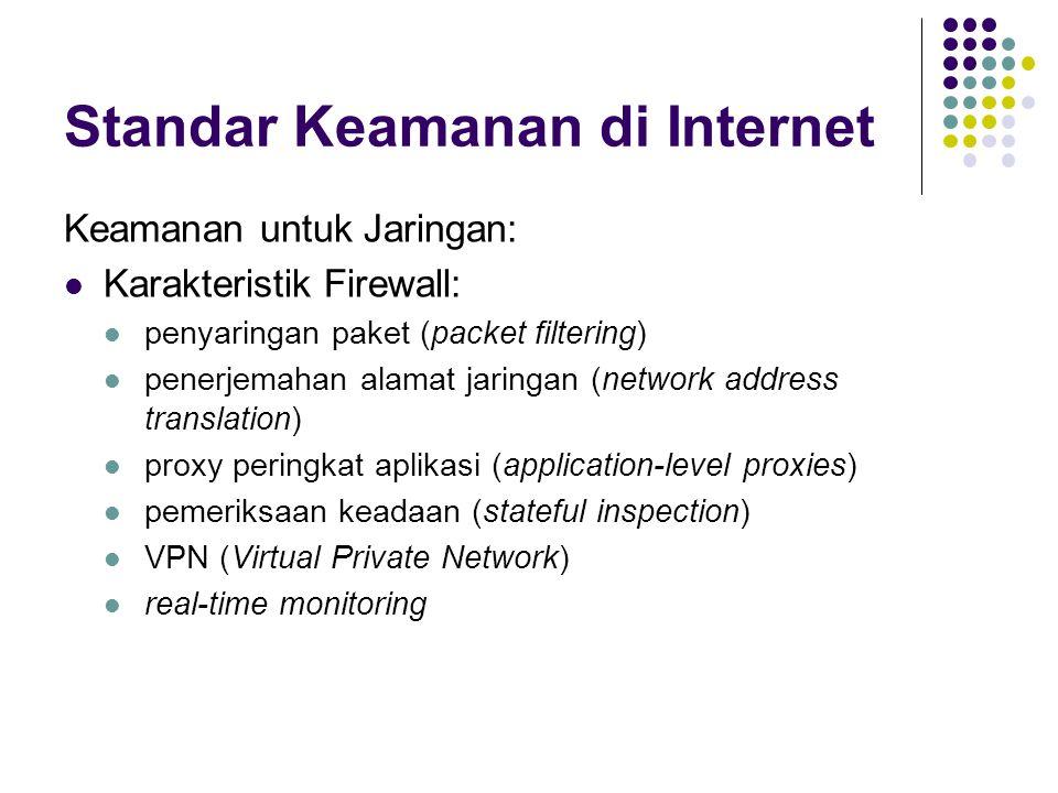 Standar Keamanan di Internet Keamanan untuk Jaringan: Karakteristik Firewall: penyaringan paket (packet filtering) penerjemahan alamat jaringan (network address translation) proxy peringkat aplikasi (application-level proxies) pemeriksaan keadaan (stateful inspection) VPN (Virtual Private Network) real-time monitoring