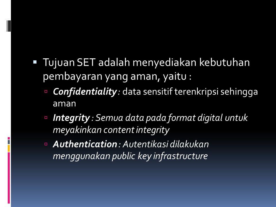  Tujuan SET adalah menyediakan kebutuhan pembayaran yang aman, yaitu :  Confidentiality : data sensitif terenkripsi sehingga aman  Integrity : Semua data pada format digital untuk meyakinkan content integrity  Authentication : Autentikasi dilakukan menggunakan public key infrastructure