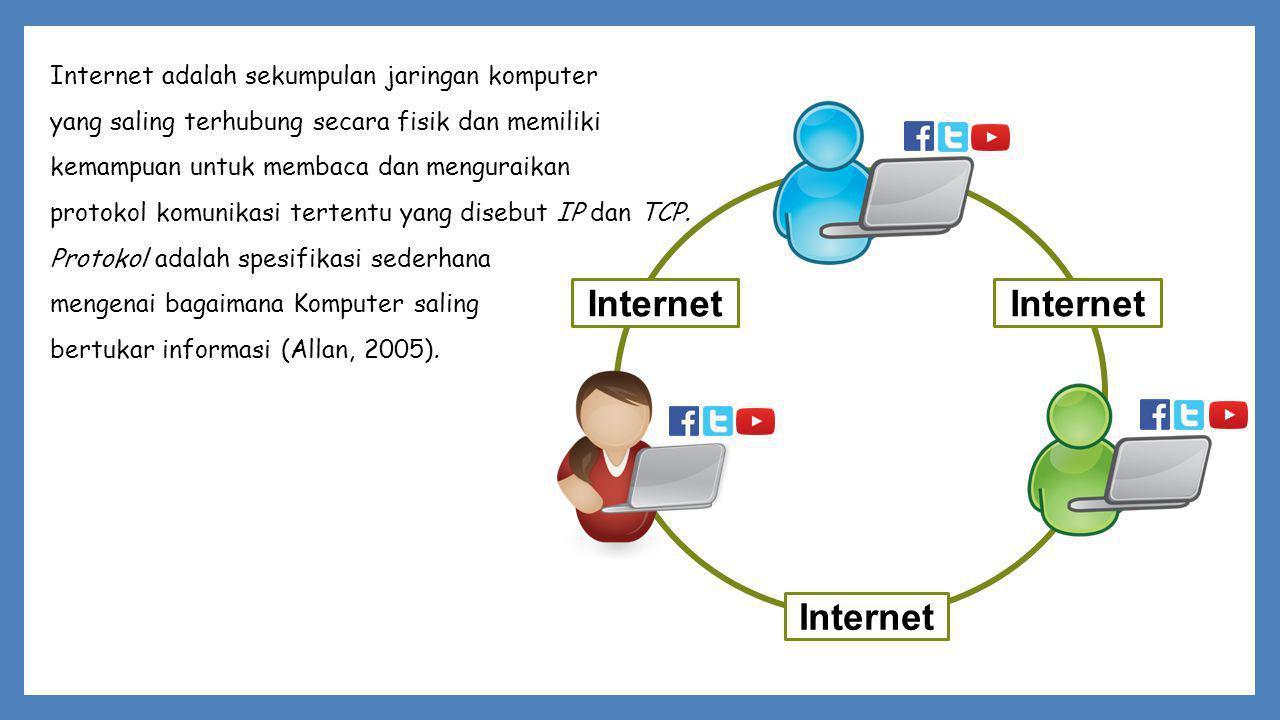 Internet Internet adalah sekumpulan jaringan komputer yang saling terhubung secara fisik dan memiliki kemampuan untuk membaca dan menguraikan protokol komunikasi tertentu yang disebut IP dan TCP.