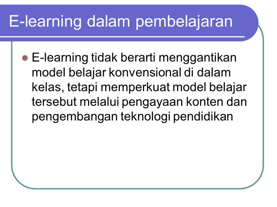 E-learning tidak berarti menggantikan model belajar konvensional di dalam kelas, tetapi memperkuat model belajar tersebut melalui pengayaan konten dan