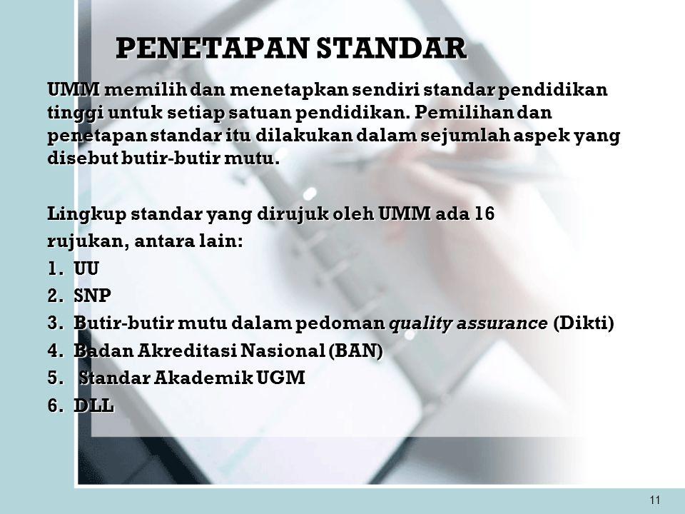 11 PENETAPAN STANDAR UMM memilih dan menetapkan sendiri standar pendidikan tinggi untuk setiap satuan pendidikan. Pemilihan dan penetapan standar itu