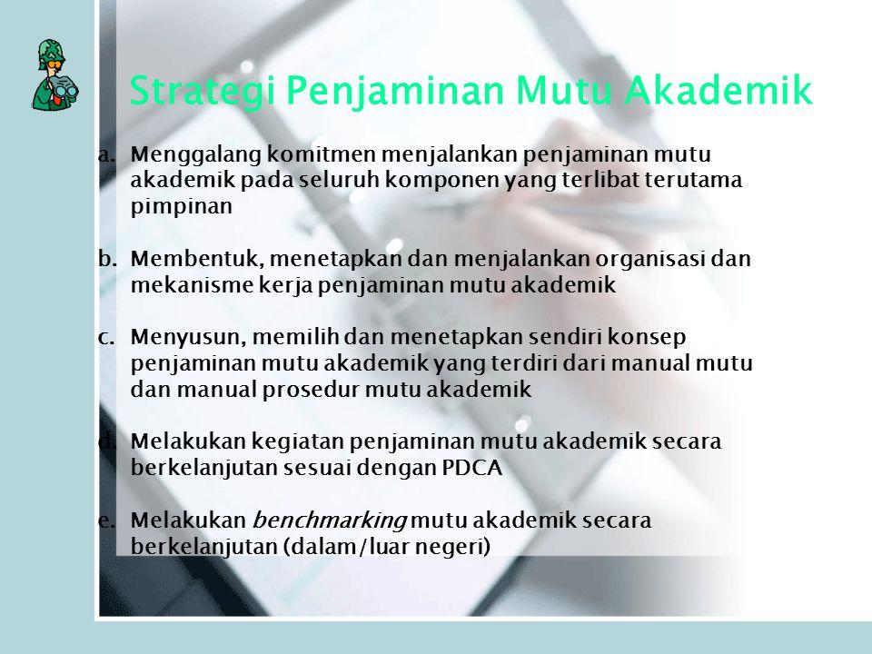 Strategi Penjaminan Mutu Akademik a.Menggalang komitmen menjalankan penjaminan mutu akademik pada seluruh komponen yang terlibat terutama pimpinan b.M