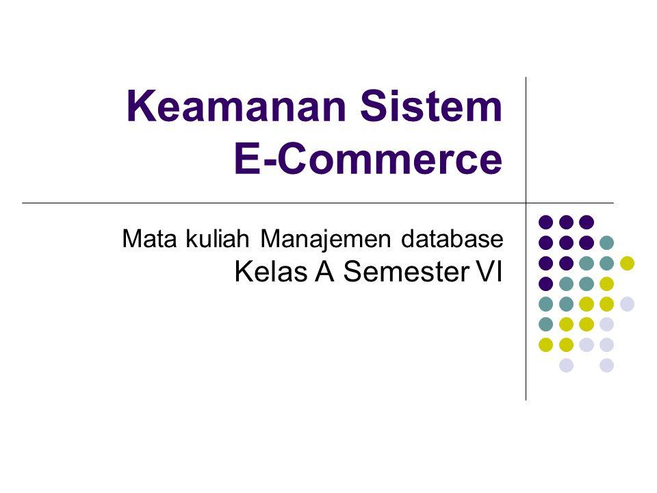 Keamanan Sistem E-Commerce Mata kuliah Manajemen database Kelas A Semester VI
