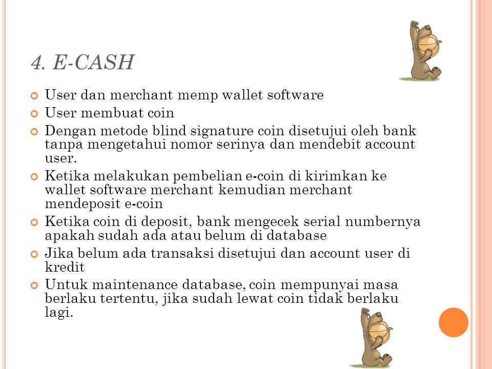 4. E-CASH User dan merchant memp wallet software User membuat coin Dengan metode blind signature coin disetujui oleh bank tanpa mengetahui nomor serin