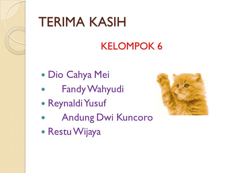 TERIMA KASIH KELOMPOK 6 Dio Cahya Mei Fandy Wahyudi Reynaldi Yusuf Andung Dwi Kuncoro Restu Wijaya