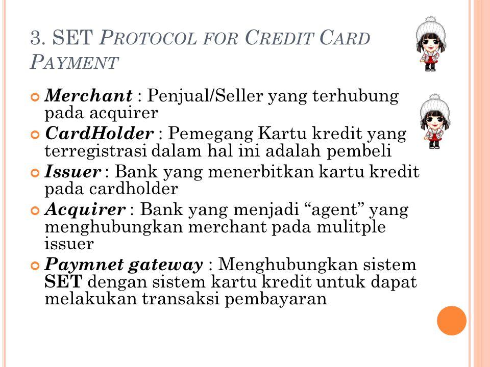 3. SET P ROTOCOL FOR C REDIT C ARD P AYMENT Merchant : Penjual/Seller yang terhubung pada acquirer CardHolder : Pemegang Kartu kredit yang terregistra