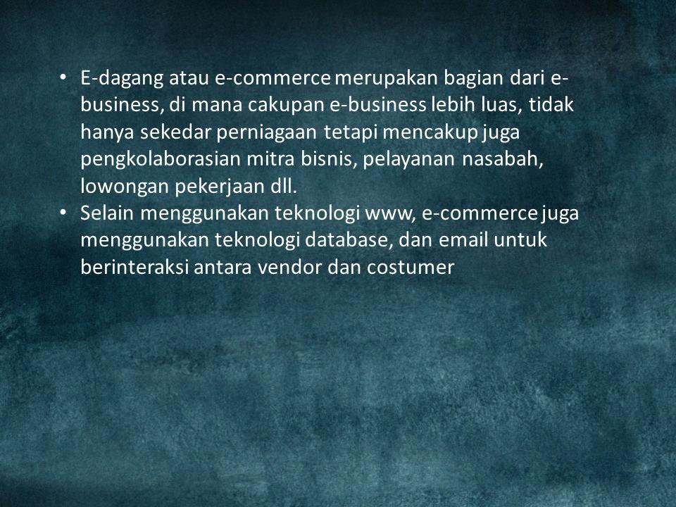 Penerapan E-Commerce : 1.Transfer dana elektronik 2.Pertukaran data elektronik 3.Sistem manajemen inventori otomatis 4.Sistem pengumpulan data otomati