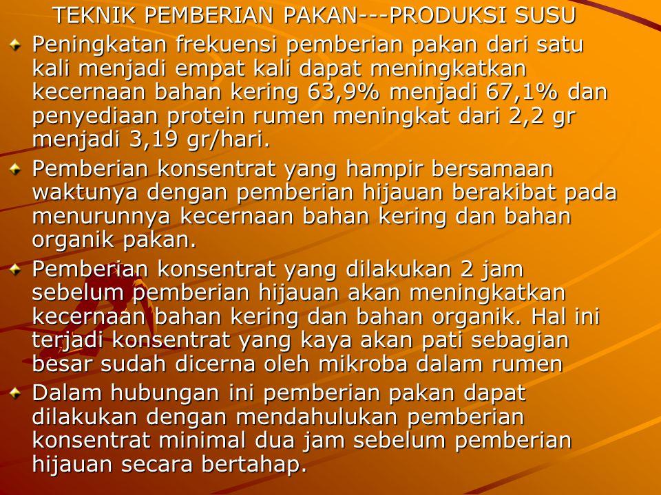 Dedak padi yang diutamakan karena murah harganya misalnya sebanyak 4 kg (segar) : Protein kasar = 4 x 0,892 x 0,154 kg = 0,549 kg Energi TDN = 4 x 0,892 x 0,703 kg = 2,508 kg Hitung kekurangan zat gizi yang dibutuhkan : Protein kasar = 1.154 gr - 549 gr= 605 gr Energi TDN= 4,184 kg - 2,508 kg = 1,696 kg Kekurangan ini dipenuhi dari bungkil kelapa, misalnya yang dipergunakan sebanyak 2 kg (segar) : Protein kasar = 2 x 0,869 x 0,205 kg = 0,356 kg Energi TDN= 2 x 0,869 x 0,789 kg = 1,371 kg Hitung kekurangan zat gizi yang dibutuhkan : Protein kasar = 605 gr - 356 gr = 249 gr Energi TDN= 2,508 - 1,371 kg = 1,137 kg Kekurangan ini dipenuhi dari bungkil kacang tanah dan yang dipergunakan sebanyak 0,8 kg (segar) : Protein kasar = 0,8 x 0,806 x 0,397 kg = 0,255 kg Energi TDN= 0,8 x 0,806 x 0,801 kg = 0,516 kg Pakan yang disusun ada kelebihan protein sedikit (6 gr) dan kurang energi TDN 855 gram.