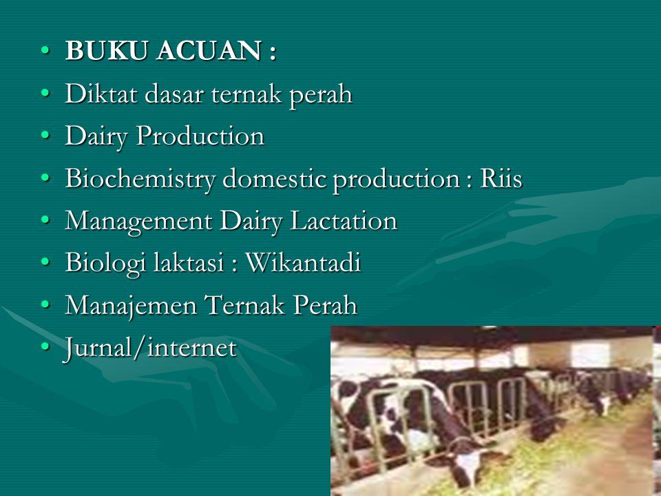 BUKU ACUAN :BUKU ACUAN : Diktat dasar ternak perahDiktat dasar ternak perah Dairy ProductionDairy Production Biochemistry domestic production : RiisBi