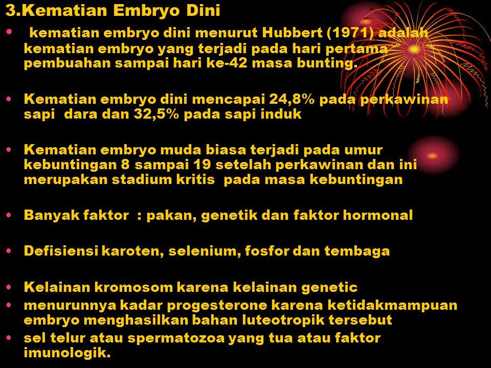 3.Kematian Embryo Dini kematian embryo dini menurut Hubbert (1971) adalah kematian embryo yang terjadi pada hari pertama pembuahan sampai hari ke-42 m