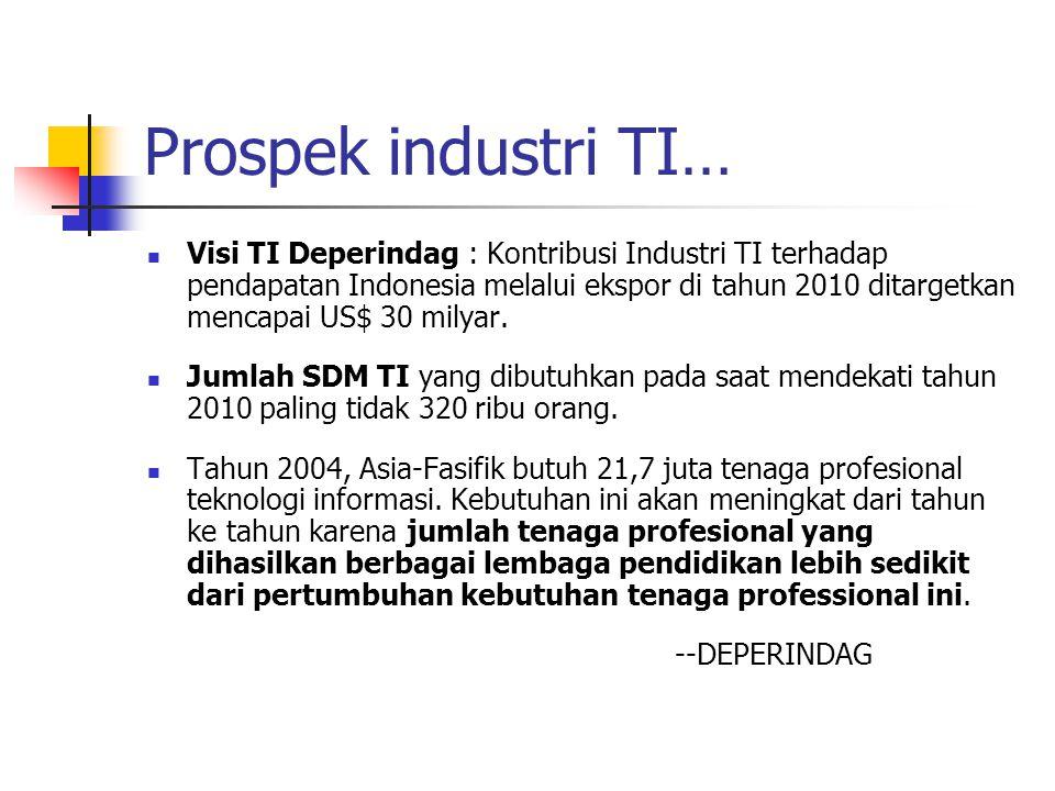 Prospek industri TI… Visi TI Deperindag : Kontribusi Industri TI terhadap pendapatan Indonesia melalui ekspor di tahun 2010 ditargetkan mencapai US$ 30 milyar.