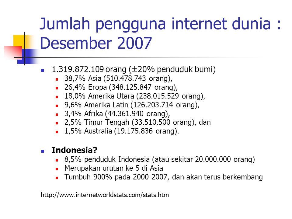 Jumlah pengguna internet dunia : Desember 2007 1.319.872.109 orang (±20% penduduk bumi) 38,7% Asia (510.478.743 orang), 26,4% Eropa (348.125.847 orang), 18,0% Amerika Utara (238.015.529 orang), 9,6% Amerika Latin (126.203.714 orang), 3,4% Afrika (44.361.940 orang), 2,5% Timur Tengah (33.510.500 orang), dan 1,5% Australia (19.175.836 orang).