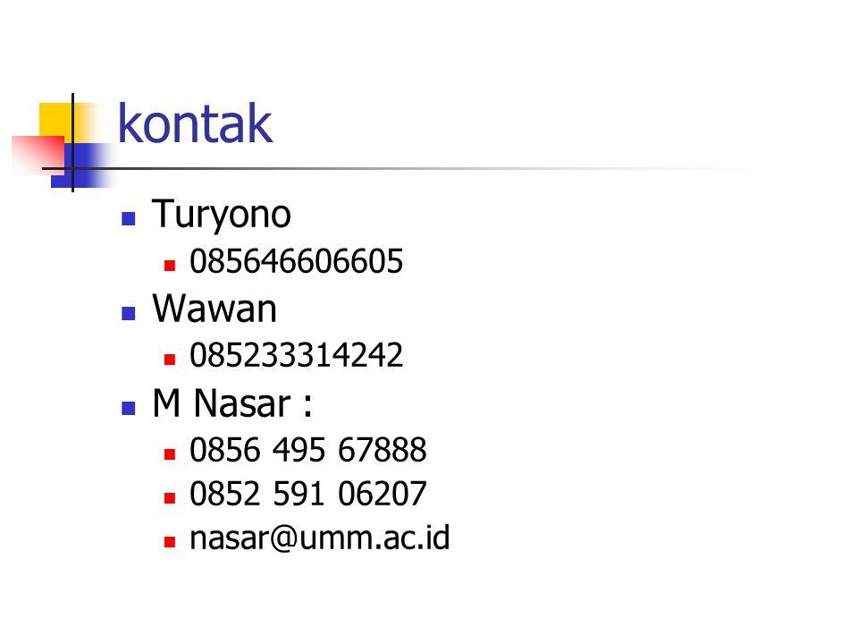kontak Turyono 085646606605 Wawan 085233314242 M Nasar : 0856 495 67888 0852 591 06207 nasar@umm.ac.id