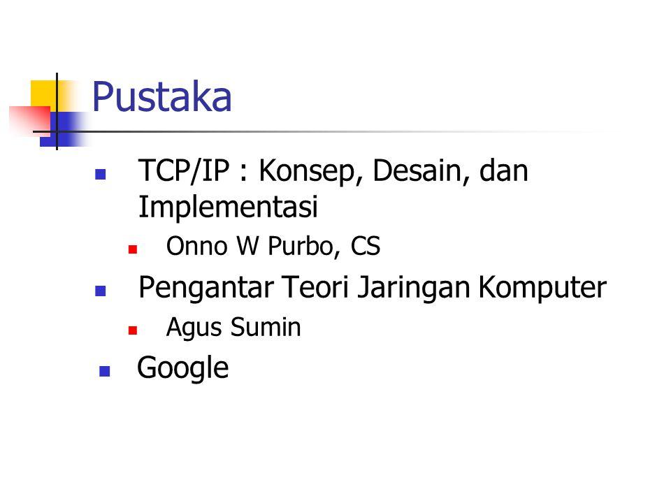 Pustaka TCP/IP : Konsep, Desain, dan Implementasi Onno W Purbo, CS Pengantar Teori Jaringan Komputer Agus Sumin Google