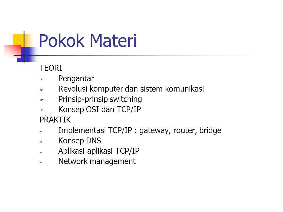 Pokok Materi TEORI F Pengantar F Revolusi komputer dan sistem komunikasi F Prinsip-prinsip switching F Konsep OSI dan TCP/IP PRAKTIK » Implementasi TCP/IP : gateway, router, bridge » Konsep DNS » Aplikasi-aplikasi TCP/IP » Network management