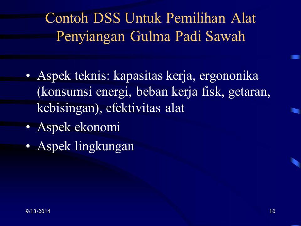 Contoh DSS Untuk Pemilihan Alat Penyiangan Gulma Padi Sawah 9/13/201410 Aspek teknis: kapasitas kerja, ergononika (konsumsi energi, beban kerja fisk, getaran, kebisingan), efektivitas alat Aspek ekonomi Aspek lingkungan