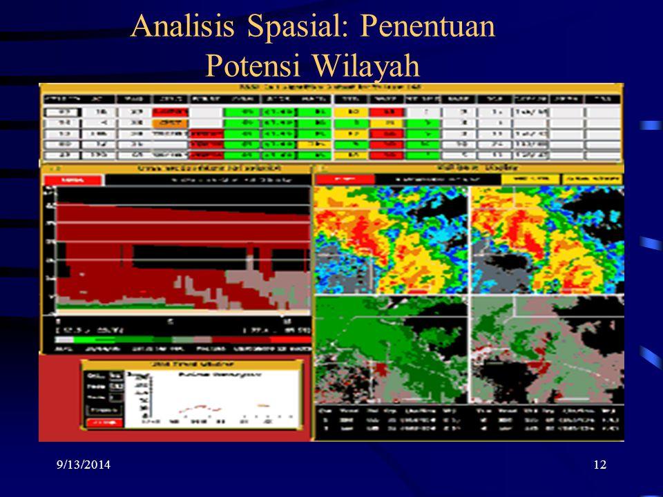 9/13/201412 Analisis Spasial: Penentuan Potensi Wilayah