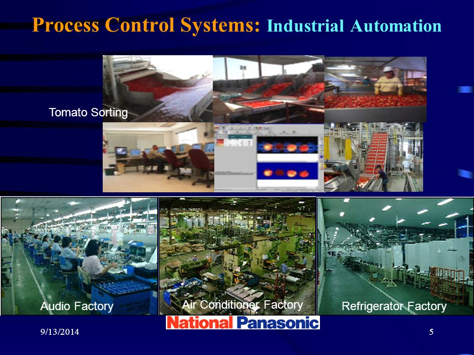9/13/20145 Process Control Systems: Industrial Automation Audio FactoryRefrigerator Factory Air Conditioner Factory Tomato Sorting Air Conditioner Factory