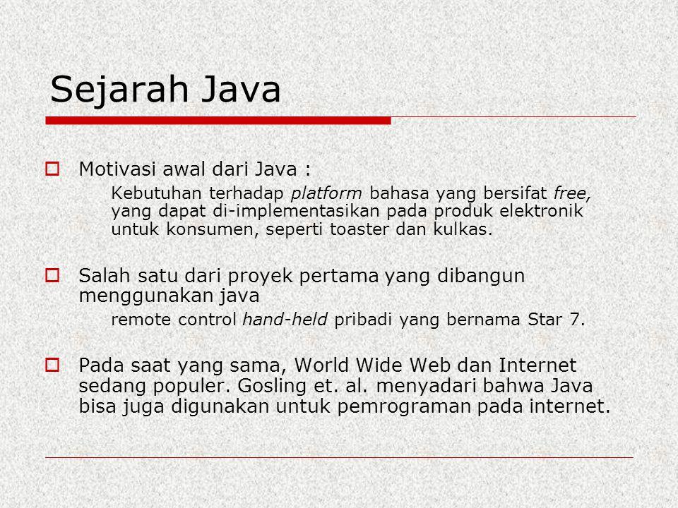 Sejarah Java  Motivasi awal dari Java : Kebutuhan terhadap platform bahasa yang bersifat free, yang dapat di-implementasikan pada produk elektronik u