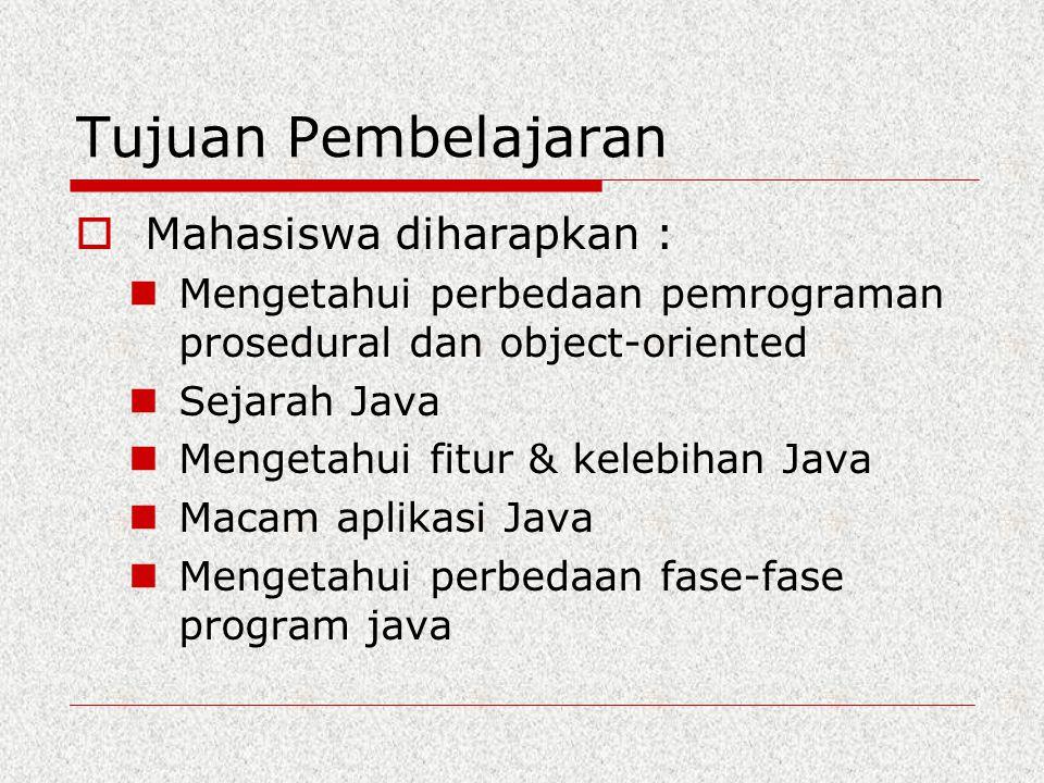 Tujuan Pembelajaran  Mahasiswa diharapkan : Mengetahui perbedaan pemrograman prosedural dan object-oriented Sejarah Java Mengetahui fitur & kelebihan
