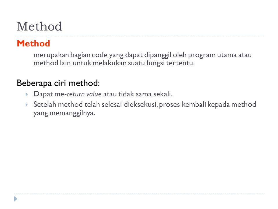 Method merupakan bagian code yang dapat dipanggil oleh program utama atau method lain untuk melakukan suatu fungsi tertentu.