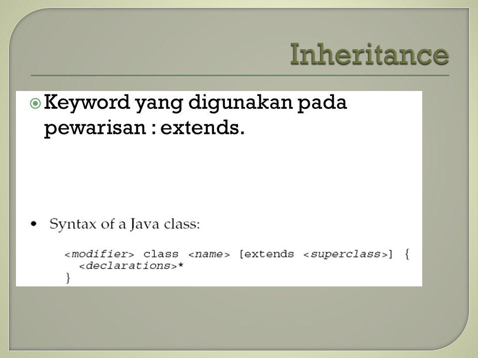  Keyword yang digunakan pada pewarisan : extends.