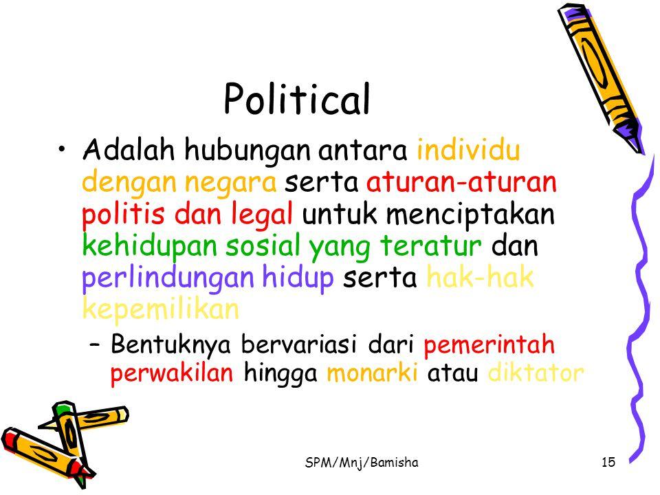 SPM/Mnj/Bamisha15 Political Adalah hubungan antara individu dengan negara serta aturan-aturan politis dan legal untuk menciptakan kehidupan sosial yan