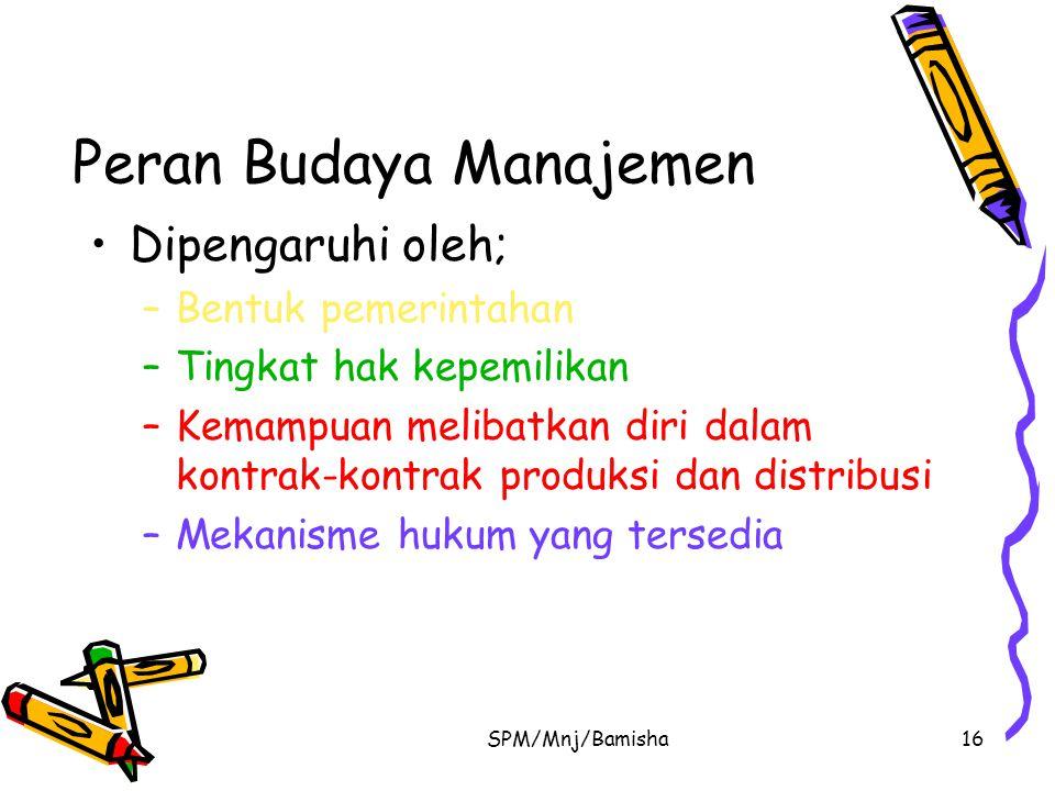 SPM/Mnj/Bamisha16 Peran Budaya Manajemen Dipengaruhi oleh; –Bentuk pemerintahan –Tingkat hak kepemilikan –Kemampuan melibatkan diri dalam kontrak-kont