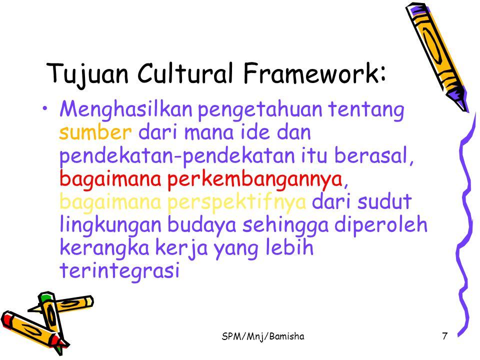 SPM/Mnj/Bamisha7 Tujuan Cultural Framework : Menghasilkan pengetahuan tentang sumber dari mana ide dan pendekatan-pendekatan itu berasal, bagaimana pe